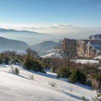 Point de vue sur la falaise de Presles en hiver